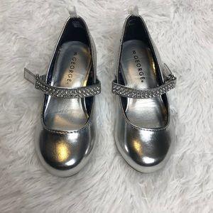Silver Mary Jane High Heels Rhinestones Size 8